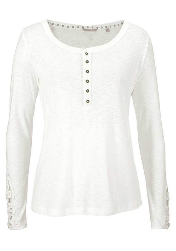 Shirt with lace, white