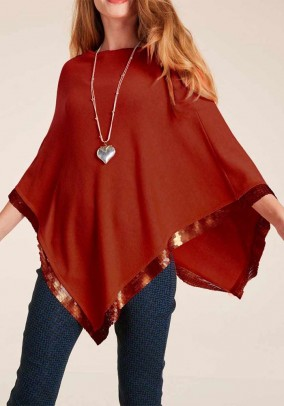 Fine knit poncho with sequins, maron