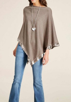 Fine knit poncho with sequins, taupe