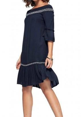 Carmen neckline dress, navy
