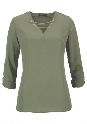 Blouse with chains, olive