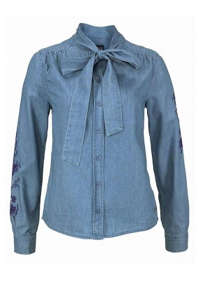 Denim blouse with embroidery, blue