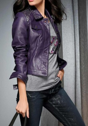 Leather jacket with beads, purple