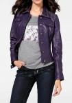 Natūralios odos violetinė striukė