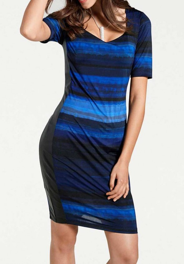 Optimizing sheath dress, royal blue - black
