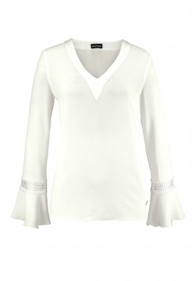 Blouse with flounces, woolwhite