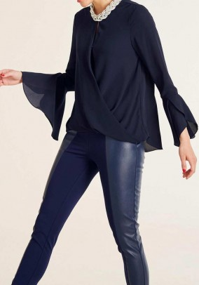 Blouse with flounces, navy