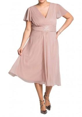 Pudros spalvos Sheego kokteilinė suknelė