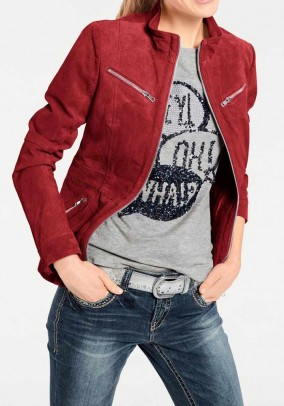 Velours jacket, red