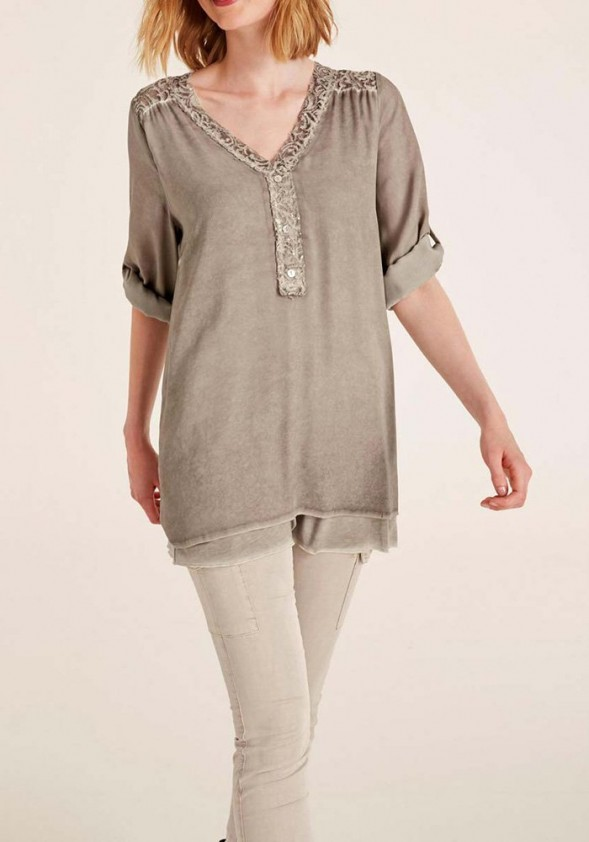 Blouse with lace, taupe