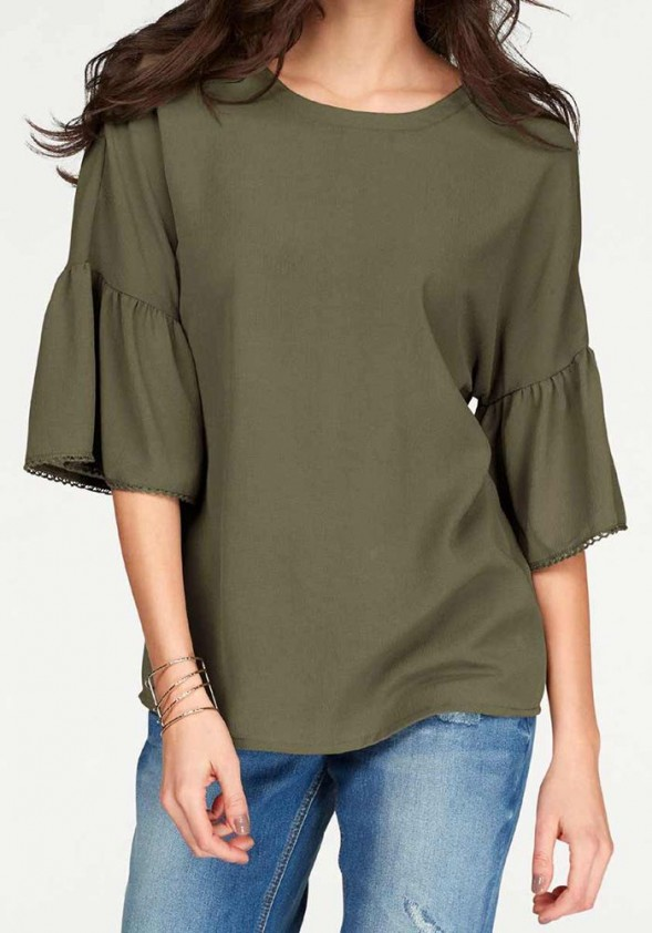 Blouse with flounces, olive