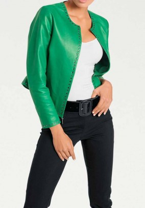 Lamb nappa leather jacket, emerald
