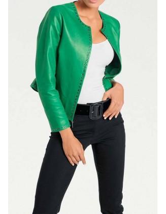 "Žalia natūralios odos striukė ""Emerald"""