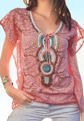 Lace tunic with beads, lobster