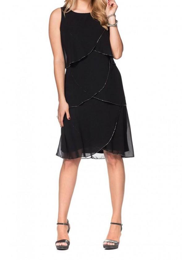 Chiffon dress with beads, black