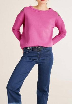Sweatshirt with strass, pink