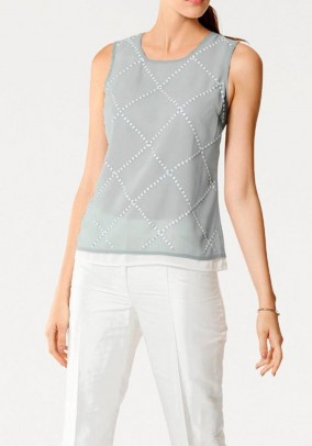 Blouse top with sequins, grey-white