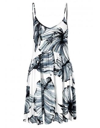 Paplūdimio suknelė su tropiniais raštais