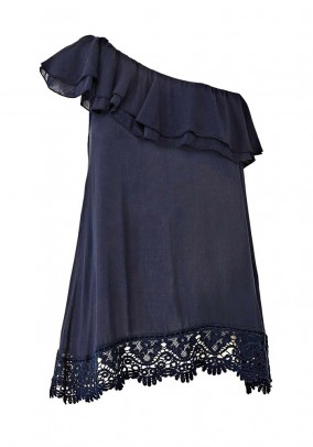 Top with flounces and lace, blue