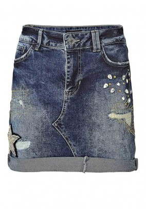 Denim skirt with applications, blue