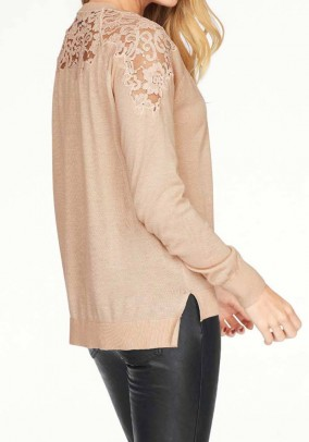 Fine knit sweater with lace, beige