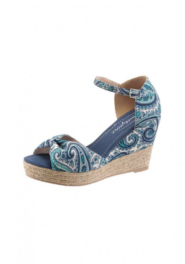 Wedge sandal, blue-white