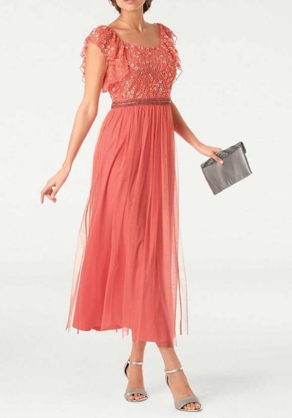 Koralinė ilga vakarinė suknelė
