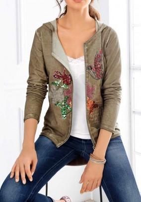 Sweat jacket with embroidery, khaki