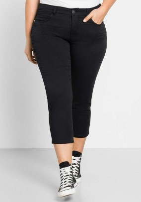 7/8 stretch trousers, black