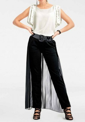 Trousers with chiffon throw, black