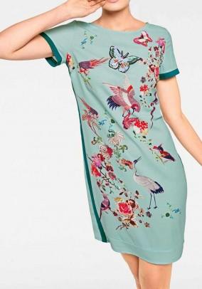 Melsva suknelė su paukščių motyvais
