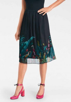 Pleat skirt, black-multicolour