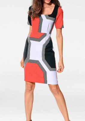 Optimizing print dress, coral-black