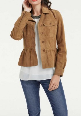 Velours leather jacket, beige