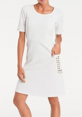 Sheath dress with lacing, white