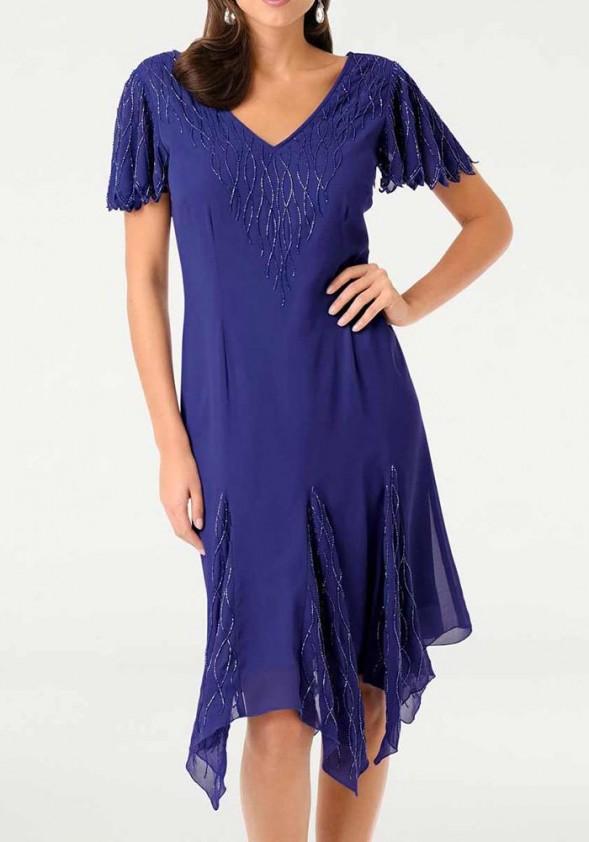 Mėlyna siuvinėta kokteilinė suknelė