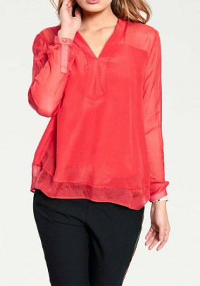 Silk blouse, red