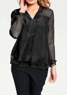 Silk blouse, black