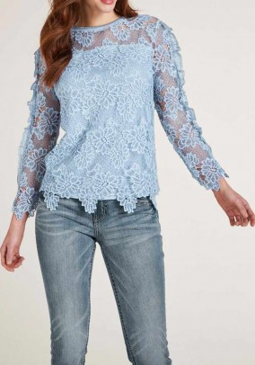 Lace shirt, blue-grey-blend