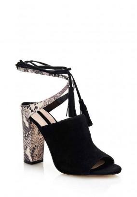 Velours sandal, black