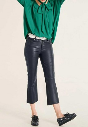 7/8 nappa leather trousers, navy