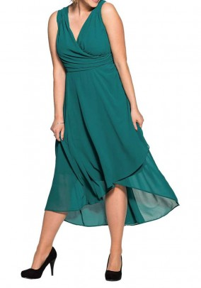 Chiffon dress, emerald