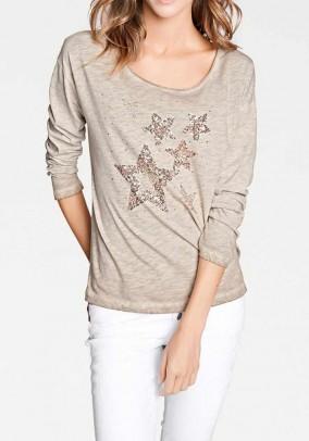 Shirt with sequins, sand-blend