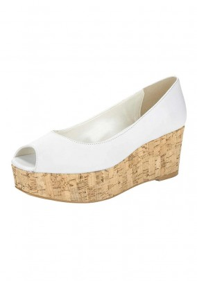 Leather peep toe, white
