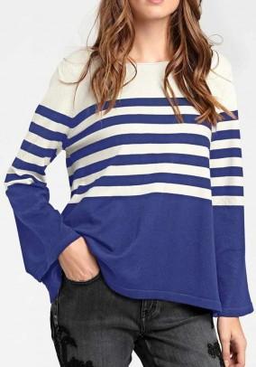 Fine knit sweater, ecru-blue