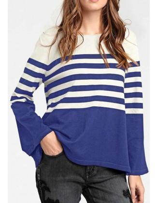 Mėlynas laisvas dryžuotas megztinis