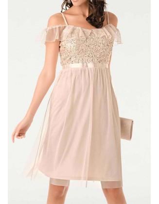 Pudros spalvos kokteilinė suknelė