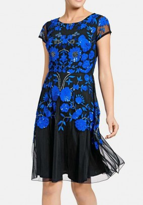 Embroidery dress with beads, black-blue