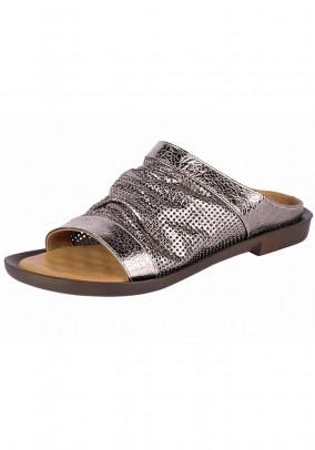 Leather mule, platinum coloured