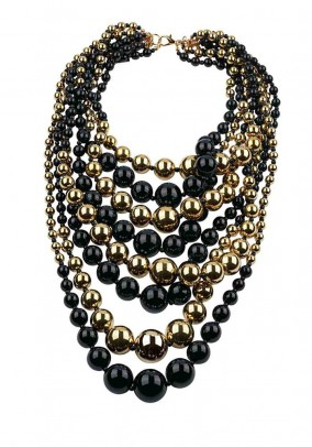 Necklace, black-golden